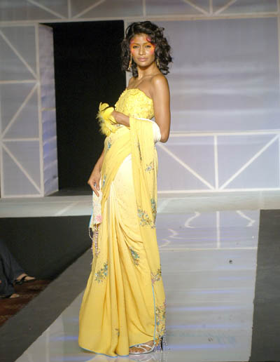 RD122 - Lemon and Yellow two tone sari with sequinze work